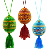 Ukranian Pysanky Wooden Egg With Rope