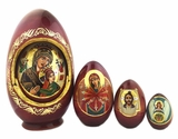 Virgin Mary, 4 Nesting Wooden Eggs, Hand Painted, 6 1/2""