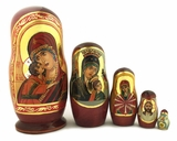Virgin Mary, 5 Nesting Icon Doll, Hand Painted, 6""