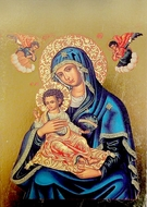 Virgin Mary and Child, Byzantine Greek Orthodox Icon