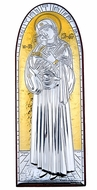 Virgin Mary and Child, Silver / Gold Plated, Wooden Base Icon with Stand