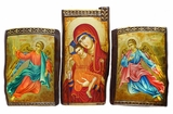 Virgin Mary and Child with Angels, Set of 3 Orthodox Icons, Hand Painted