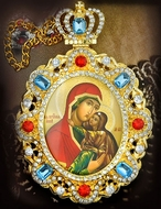 Virgin Mary and St. Anna, Jeweled  Icon Pendant with Chain