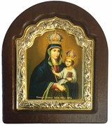 "Virgin Mary ""Barskaya"", Serigraph Icon in Wood / Silver 925 Frame"