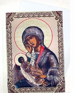 Virgin Mary & Child. Tapestry Icon Greeting Card with Envelope