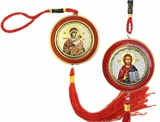 Virgin Mary & Christ The Teacher, Reversible Icon on Rope