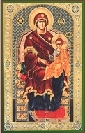 Virgin Mary Enthroned, Orthodox Christian Panel Icon