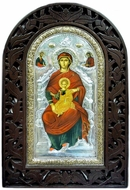 Virgin Mary Enthroned, Serigraph Hand Painted Orthodox Icon