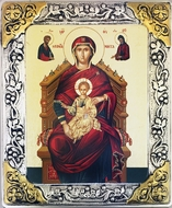 Virgin Mary Enthroned, Serigraph  Icon in Silver  Gold Plated Riza