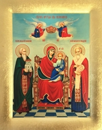 Virgin Mary Enthroned with Russian Saints, Serigraph Orthodox Icon