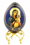 Virgin Mary Eternal Bloom, Decoupage Wooden Icon Egg with Stand