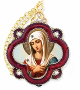 Virgin Mary Extreme Humility, Enamel Framed Ornament Icon  with Chain & Bow