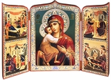 "Virgin Mary ""Feodorovskaya"",  Foldable Orthodox Triptych"