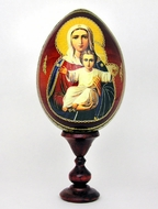 "Virgin Mary ""I Am With You"",  Wooden Icon Egg  with  Stand"