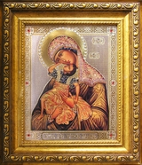 "Virgin Mary ""Leaping with Joy"",  Framed Icon with Crystals and Glass"