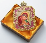 "Virgin Mary ""Leaping with Joy"", Square Shaped Ornament Icon, Purple"