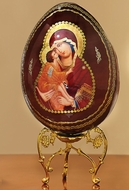 Virgin Mary of Don (Donskaya), Wooden Icon Egg with Stand