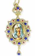Virgin Mary of Extreme Humility, Star Shaped, Panagia Style Framed Icon