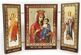 Virgin Mary of Iveron /   Archangels Michael and Gabriel, Mini Triptych