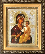 Virgin Mary of  Iveron -  Myrrhstreaming (Montreal) Framed Icon with Glass & Crystals