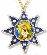 Virgin Mary of Ostrobrama, Ornament Icon Pendant with Chain, Blue