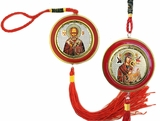 Virgin Mary of Passion & Saint Nicholas, Reversible Icon on Rope