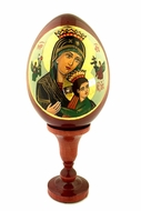 Virgin Mary of Perpetual Help, Wooden Icon Egg with Stand, Hand Painted