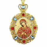 Virgin Mary of Seven Swords, Jeweled  Icon Pendant with Chain