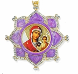 Virgin Mary of Smolensk, Faberge Inspired Framed Icon Ornament