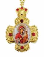 Virgin Mary of Smolensk,  Faberge Style Framed Cross With Icon