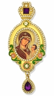Virgin Mary of Smolensk,  Jeweled Icon Ornament, Purple Crystals