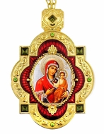 Virgin Mary of Smolensk, Jeweled  Icon Pendant with Chain