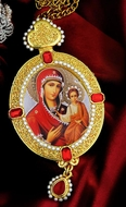 Virgin Mary of Smolensk, Oval Shaped Framed Icon Ornament with Pearls & Chain