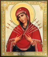 Virgin Mary  of Sorrows - Seven Swords, Gold / Silver Foil Orthodox Icon