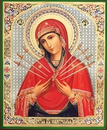 Virgin Mary  of Sorrows - Seven Swords, Orthodox Icon