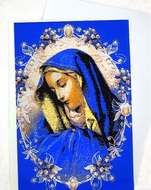 Virgin Mary of Sorrows, Tapestry Icon Greeting Card with Envelope