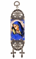 "Virgin Mary of Sorrows, Textile Art Tapestry Icon Banner, 7"" H"
