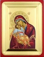Virgin Mary of Tenderness (Sweet Kiss), Silver  Silk Screen Orthodox Icon
