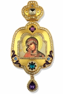 Virgin Mary of Tikhvin, Enameled Framed Icon Ornament