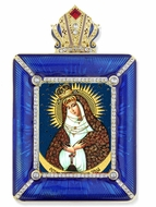 Virgin Mary Ostrobrama Icon in Square Style Frame with Stand