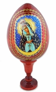 Virgin Mary Ostrobramska,  Wooden Icon Egg with Stand