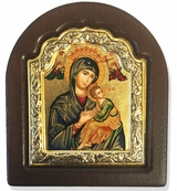 Virgin Mary Perpetual Help,   Serigraph Icon in Wood / Silver 925 Frame
