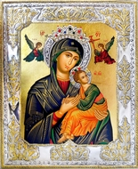 Virgin Mary Perpetual Help, Serigraph Orthodox  Icon  in Silver Riza