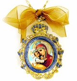 Virgin Mary Pochaevskaya, Enamel Framed Icon Pendant