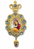 Virgin Mary Pochaevskaya,    Enameled Jeweled Icon Ornament / Blue Crystals