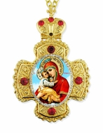Virgin Mary Pochaevskaya, Faberge Style Framed Cross-Shaped Icon Pendant