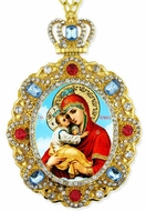 Virgin Mary Pochaevskaya, Jeweled Icon Pendant with Chain