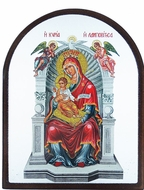"Virgin Mary ""Queen Of All"" (Enthroned), Silver Silk Screen Orthodox Icon"