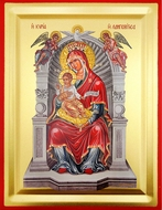 "Virgin Mary ""Queen Of All"" (Enthroned),  Serigraph Icon with Stand , Small"