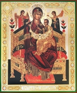 "Virgin Mary Queen of All ""Vsetsaritsa"" (Pantanassa), Gold / Silver Foil Orthodox Icon"